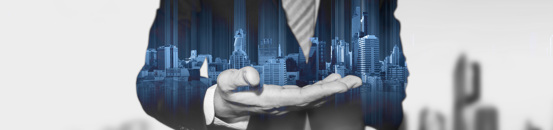 Man with Buildings on Hand Graphic